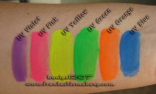Kryolan UV Day Glow Palette Swatches - Natural Light