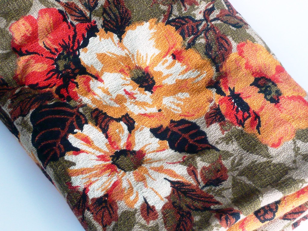 vintage upolstery-weight floral fabric