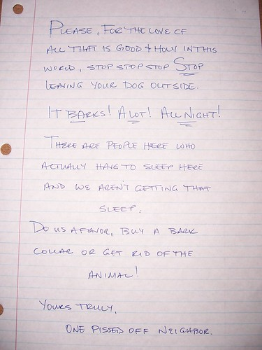 Letter to the neighbor