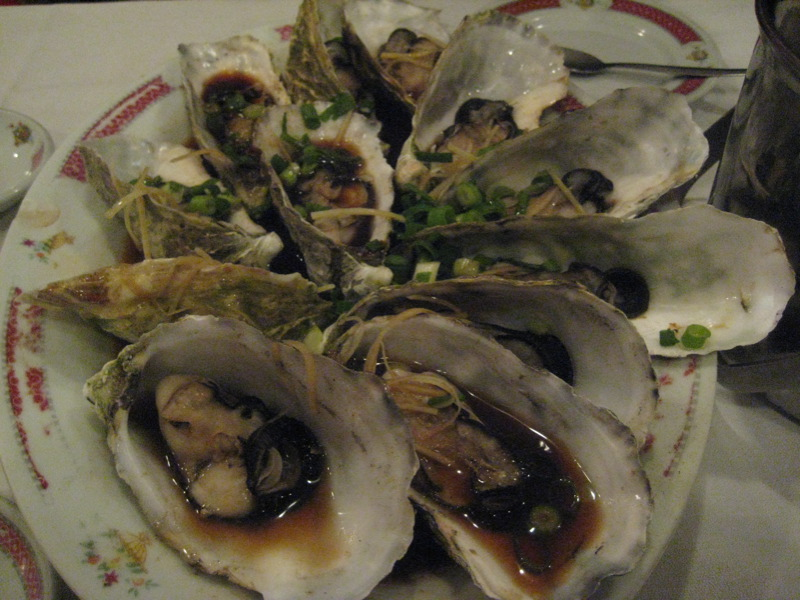 Steamed oysters with ginger and spring onion