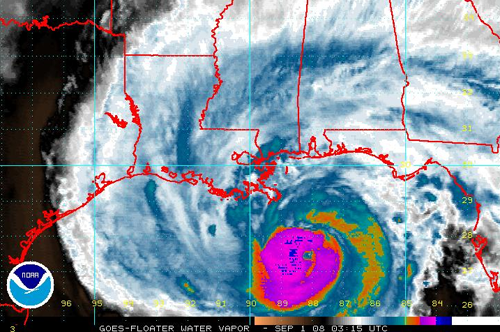 Gustav approaching the Louisiana coast (from NOAA)