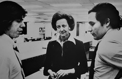 Woodward y Bernstein, con la editora Katherine Graham