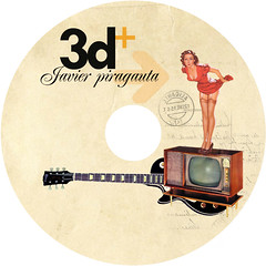 Cd y caratula 3d+ (collage digital) (Javier Piragauta) Tags: blue art collage digital vintage de design tv 3d colombia arte cd label guitarra retro plata musica demon bluedemon diseo pinup lucha santo tunja piragauta ipestre