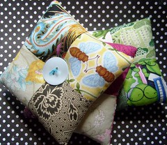 pillow stack (rosie.ok) Tags: handmade sewing brooch craft pillow fabric quilting accessories patchwork scrap