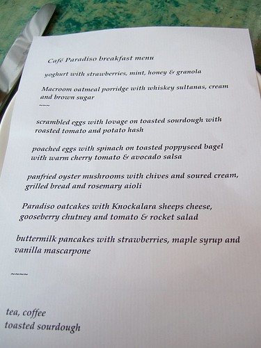 Cafe Paradiso breakfast menu