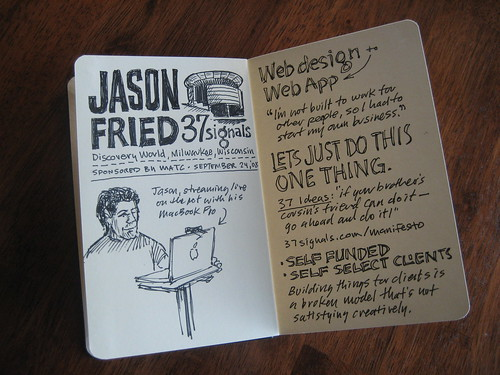 Jason Fried Discovery World Sketchnotes: Pages 01-02
