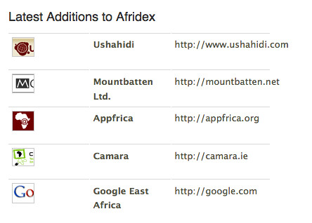 Afridex - an index of African web startups