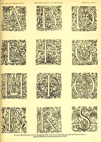 21- Alfabeto romanico con decoracion grotesca-satiros-animales fantasticos y figuras humanas usado por Plantin en la Biblia Poligrloa de 1570