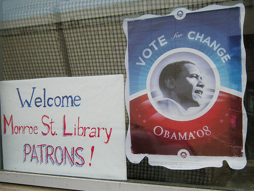 Two Monroe Street Library Patrons Get Their Obama Yard Sign