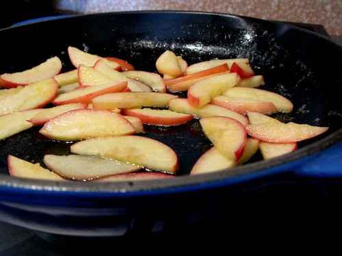 frying apples in butter for Big Apple Pancake