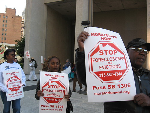 Moratorium Now! Coalition to Stop Foreclosures and Evictions held a demonstration outside the federal bldg. in downtown Detroit on Oct. 3, 2008. (Photo: Alan Pollock). by Pan-African News Wire File Photos