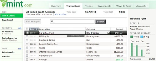 Mint personal finance tool transactions