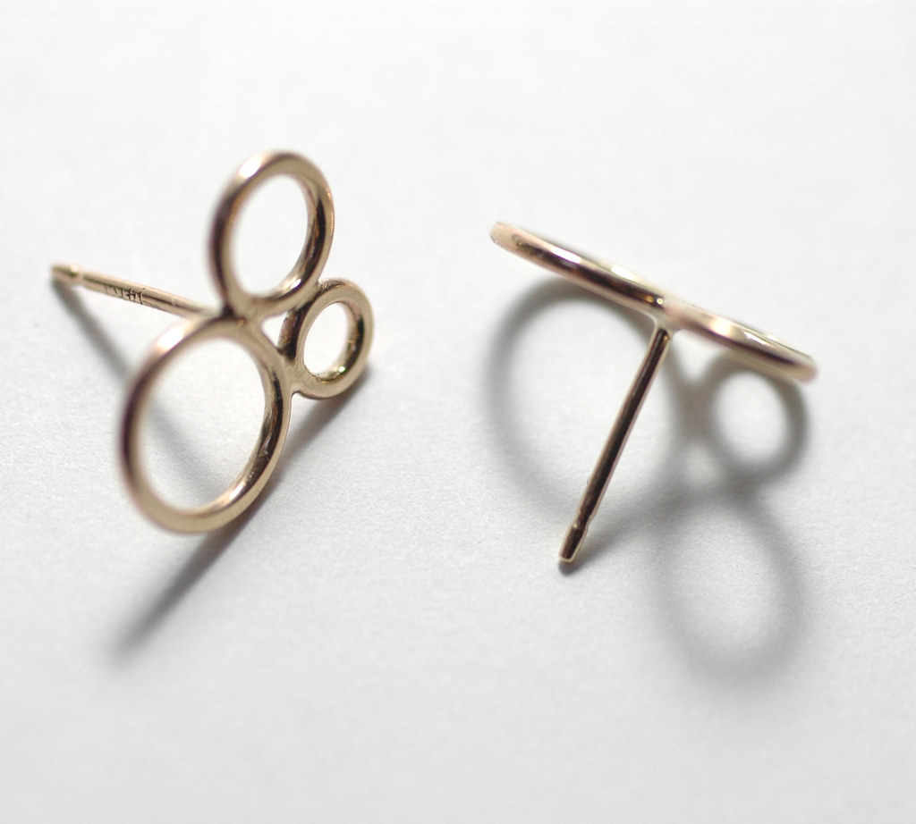 Bubble Lace Studs in 14k yellow gold