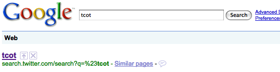 Google indexes Twitter search