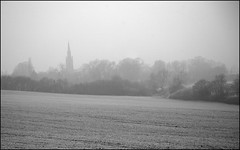 Village in frost and fog B&W (*Melody*) Tags: mist cold tree frost lincolnshire hedge fields ruralview