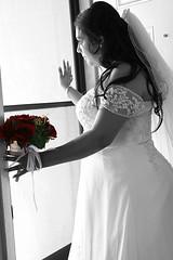 Waiting (photographinglife_anamercado) Tags: wedding roses blackandwhite weddingdress selectivecoloring