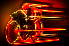 Ride Like the Wind (Thomas Hawk) Tags: california usa museum losangeles neon unitedstates fav50 10 unitedstatesofamerica headlights fav20 motorcycle headlight southerncalifornia fav30 fav10 petersenautomotivemuseum fav25 fav40 fav60 fav70 superfave petersensautomotivemuseum