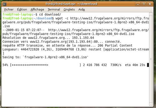 récupération de l'iso de la frugalware via wget