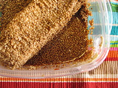 Cream cheese covered with sesame seeds... and soy sauce