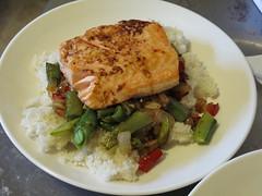 focaccia, veggies & salmon