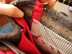Assembling handles & stiffener (Snowdrifted) Tags: bag knitting