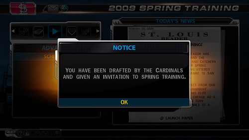 MLB 09 The Show screenshot - RTTS Enter Draft