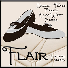 Flair-Ballet Flats-Pinned-Choc White Combo