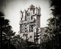 The Hollywood Tower Hotel (Stuck in Customs) Tags: lighting travel family trees light vacation blackandwhite usa white black tower texture film look architecture illustration work dark fun hotel amusement photo orlando amazing cool nice interesting scary mood alone ride shot florida awesome fear ghost feel elevator d2x dramatic freaky disney haunted disneyworld age hollywood excellent horror shooting ghosts rides areas portfolio grime zombies capture walt drama scare fears mgm tones depth sounds trey authentic appearance fright outstanding thriller treatment freaking noises ratcliff stuckincustoms