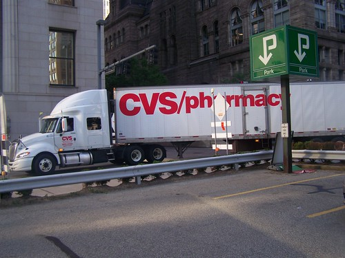 CVS pharmacy delivery truck during rush hour, Downtown Pittsburgh