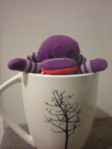 tea cup sock monkey