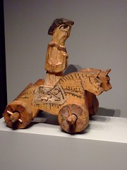 Figure between Horses on wheels possibly toy Roman from Egypt 300-400 CE wood (mharrsch) Tags: california horse toy roman wheels egypt malibu juguetes 4thcenturyce gettyvilla mharrsch