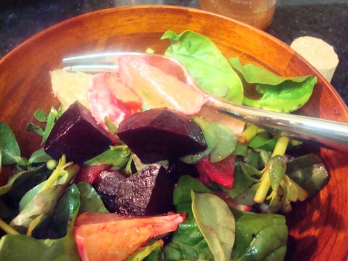 Spinach and Watercress Salad with Pomelos and Roasted Beets