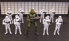 The New Recruit. (waihey) Tags: starwars stormtroopers pistols masterchief spartan 117 stance halo3 assualtrifle xboxvideogame