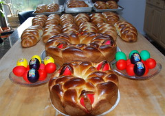 The sweetness of Easter bread! Τσορεκια (ineedathis, Everyday I get up, it's a great day!) Tags: easter bread baking eggs dyed braided easterbread nikond80 πασχα αυγα tsorekia τσορεκια