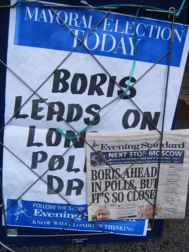 Standard billboard says Boris leads - Paper says only just