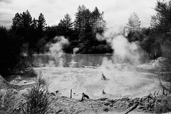 The land that time forgot (c@rljones) Tags: newzealand bw monochrome rotorua steam craters colourful geothermal bubbling waiotapu thermalwonderland mudpool belial april2008 volanic status:move=0 httpwwwrljonescouk