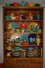 Fiestaware in a trophy case (B-Kay) Tags: vintage fiesta display storage fiestaware