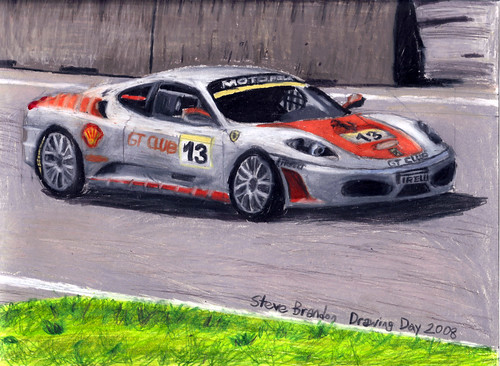 A coloured pencil drawing of a Ferrari F430 Challenge Stradale car.