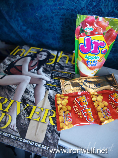 Seair Inflight snacks and magazine
