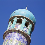 One of the minarets of the blue mosque