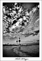 Kuwait Towers (Khalid AlHaqqan) Tags: blackandwhite bw beach clouds canon 350d blackwhite sigma kuwait 1020mm khalid hdr ruleofthirds kwt kuwaittowers mywinners abigfave platinumphoto alhaqqan theperfectphotographer goldstaraward