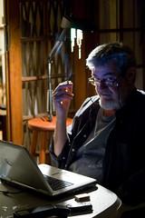 Still Working (Quasic) Tags: backlight southafrica dad desk smoke dell favourite h0 portraitportfolio