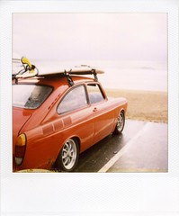 . (Rebecca...) Tags: uk film beach car vw volkswagen polaroid sx70 cornwall newquay 600 surfboard longboard carpark  type3 fastback fistral packfilter
