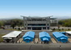 DMZ Tilt Shift - North Korea Panmunjon   (Eric Lafforgue) Tags: pictures travel soldier army photo war asia military picture korea kimjongil unitednations asie journalist militaire soldat journalists northkorea armee panmunjom  dprk coreadelnorte gyeonggi juche kimilsung panmunjeom nordkorea lafforgue 38thparallel  militarydemarcationline ericlafforgue   coredunord coreadelnord koreandemilitarizedzone  northcorea coreedunord rdpc  insidenorthkorea  rpdc   coriadonorte northkoreanarmy  kimjongun northkoreaarmyphotos coreiadonorte