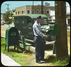 Letter Carrier Collecting Mail (Smithsonian Institution) Tags: green outdoors postoffice postbox postal usps 1947 postalservice mailman 193 lettercarrier collectionbox smithsonianinstitution usmail relaybox mailcarrier nationalpostalmuseum mid20thcentury handcoloredphotograph mailacrossthecommons