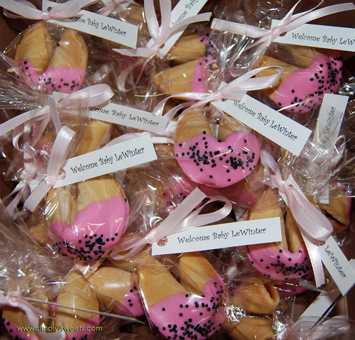 Chocolate dipped fortune cookie baby shower favors ladybug theme alt view
