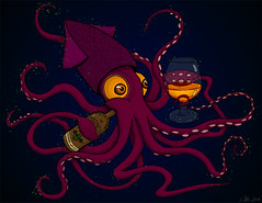 Bourbon Drinking Squid (nsjmetzger) Tags: monster underwater drawing whiskey squid whisky bourbon