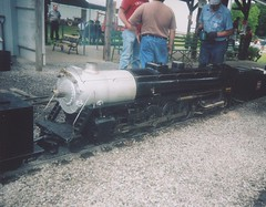 a large 4-8-4 mainline steam locomotive in 7 and 1/2 inch guage. The Hesston Steam Museum. Hesston Indiana. August 2005.