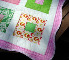 pink green quilt detail and binding