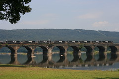 14G crosses Rockville Bridge (*S_MAC*) Tags: railroad bridge water stone train reflections river ns arches trains southern transportation locomotive harrisburg locomotives railroads susquehanna susquehannariver prr norfolksouthern pennsy